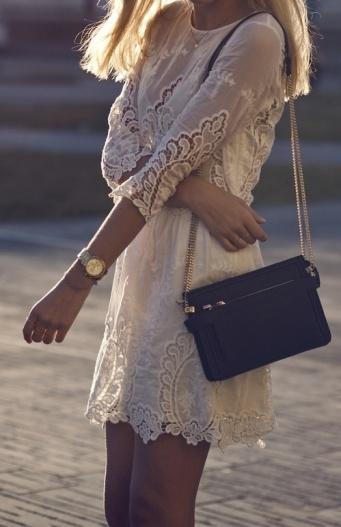 Boho white lace dress