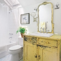 vintage cabinet yellow